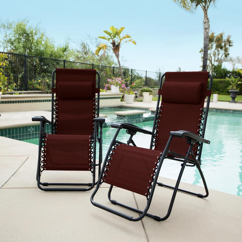 Caravan Burgundy Metal Infinity Zero Gravity Patio Chair (2-Pack)