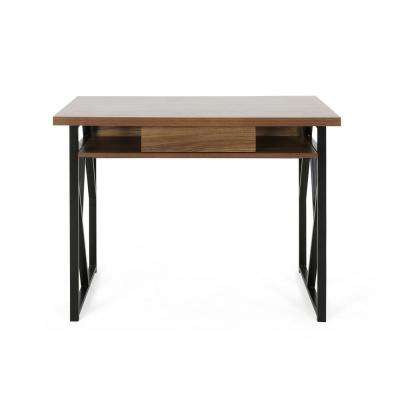 Fernwood Modern Walnut Brown Faux Wood Writing Desk with Black Metal Frame