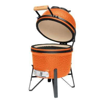 13 in. Ceramic Charcoal Grill in Orange