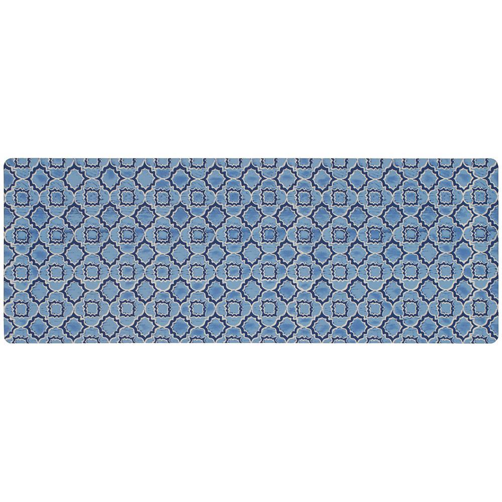 Micro Elegance Indigo Clover 18 In X 48 Kitchen Mat