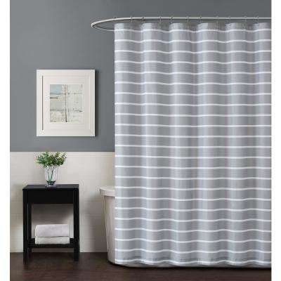 Maddow Stripe 72 in. Grey Shower Curtain