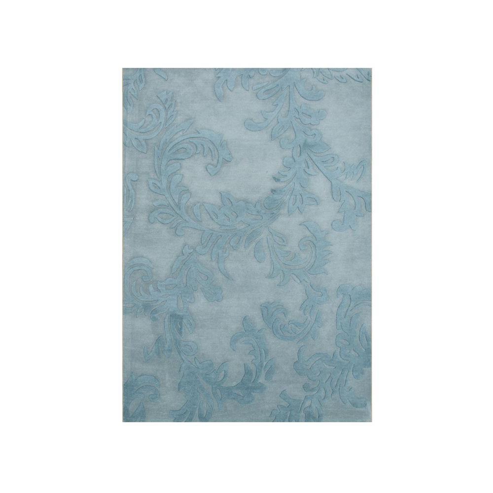 Blue 5 ft. x 8 ft. Handmade Floral Area Rug