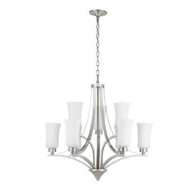 9-Light Brushed Nickel Chandelier with Tulip Shaped Frosted Glass Shades