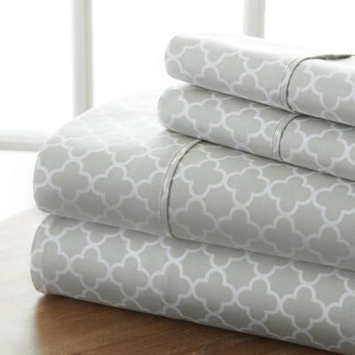 Quatrefoil Patterned 4-Piece Gray King Performance Bed Sheet Set