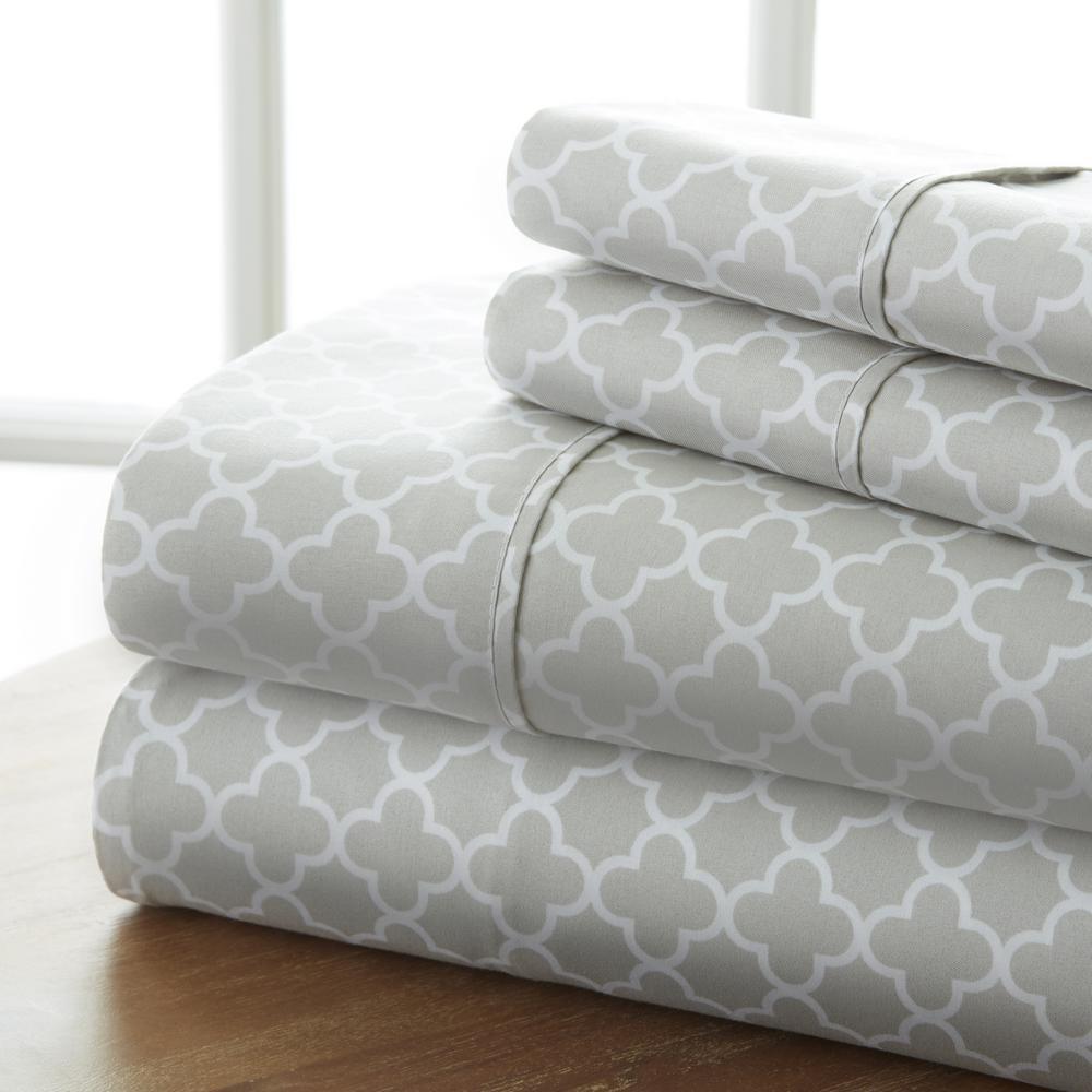 Quatrefoil Patterned 4-Piece Gray Queen Performance Bed Sheet Set