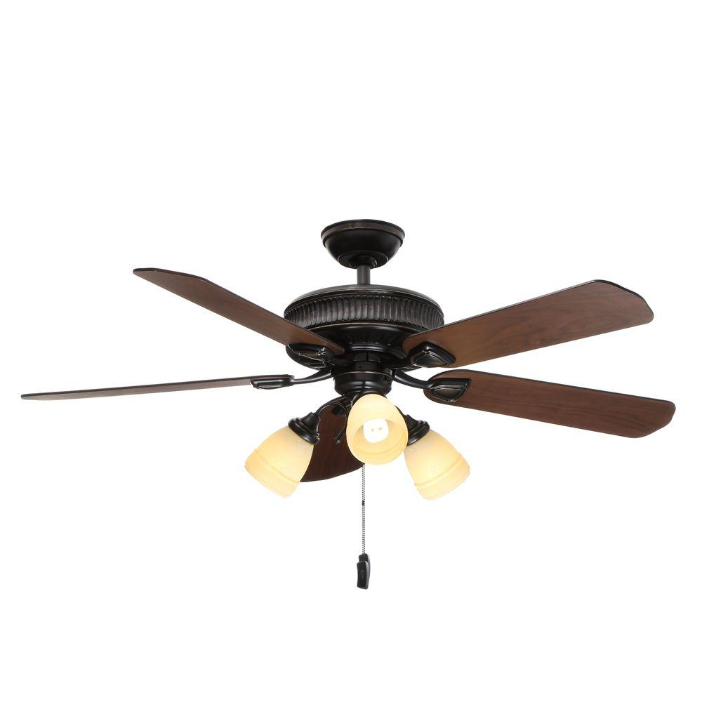 Casablanca Ainsworth Gallery 54 In Indoor Basque Black Ceiling Fan With Light