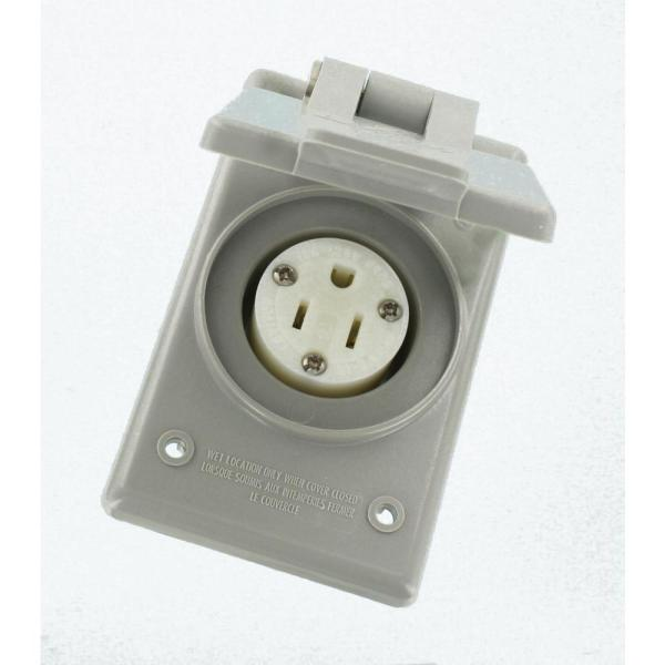 15 Amp 125-Volt Straight Blade Grounding Power Outlet Receptacle, Gray