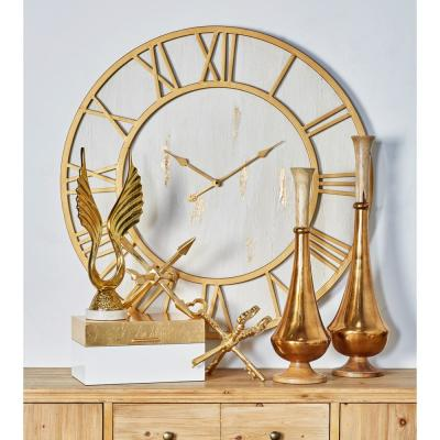 Multi-Colored Rustic Analog Wall Clock with Gold Accents