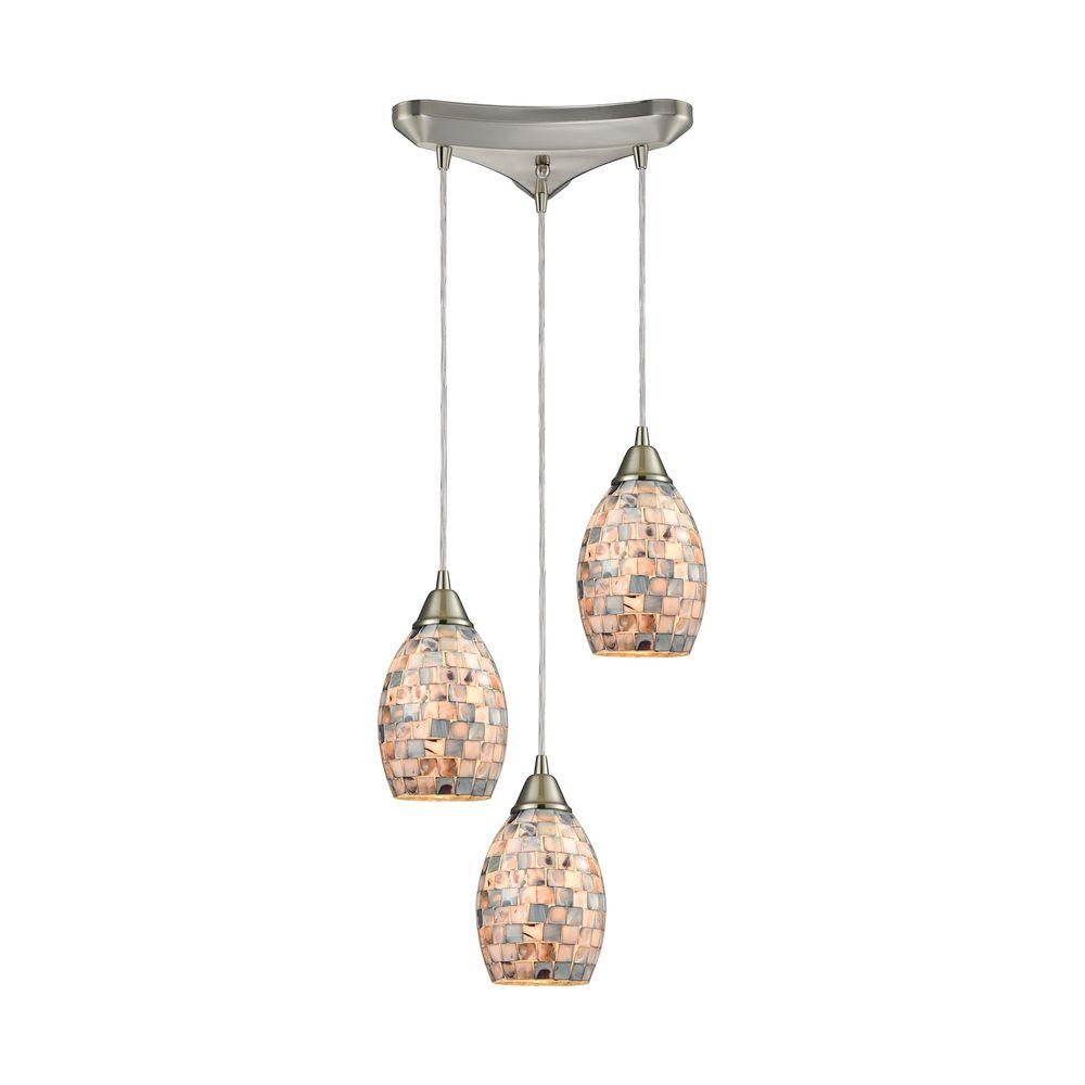 titan lighting capri 3 light satin nickel and gray capiz shell