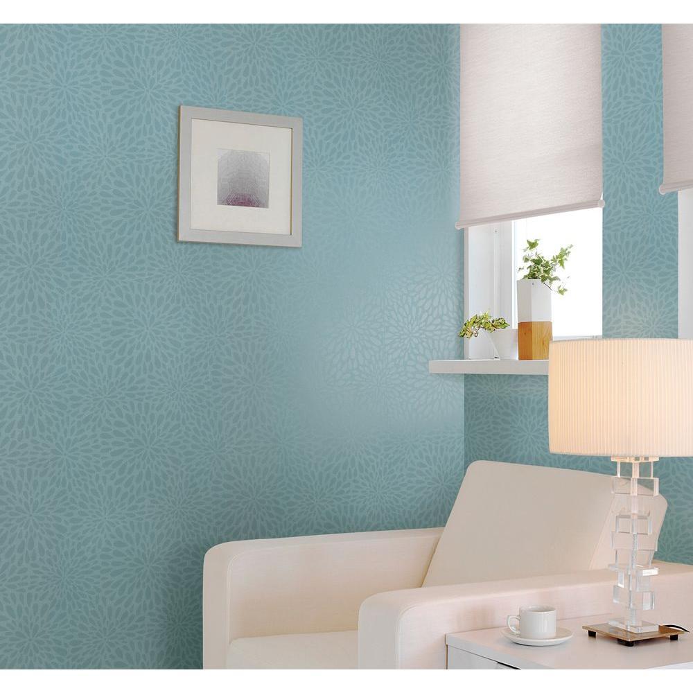 Calendula Teal Modern Floral Wallpaper