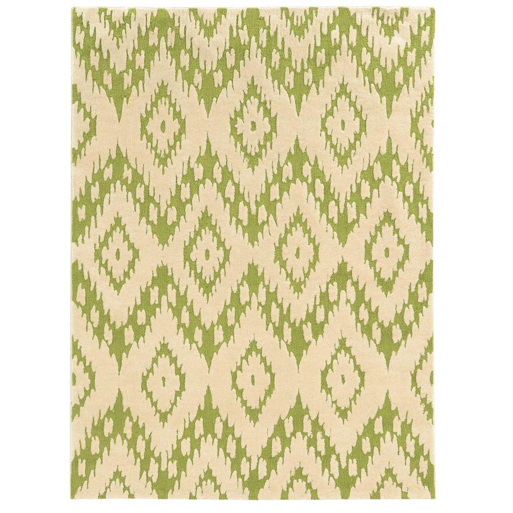 Linon Home Decor Trio Collection Green and Ivory 8 ft. x 10 ft. Indoor Area Rug