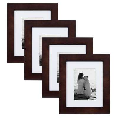 Museum 8 in. x 10 in. Matted to 5 in. x 7 in. Walnut Brown Picture Frame (Set of 4)