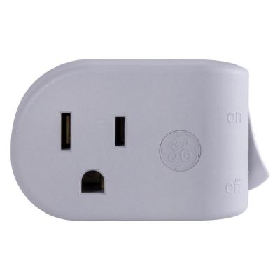 1-Outlet Grounded On/Off Power Switch Plug-In Gray