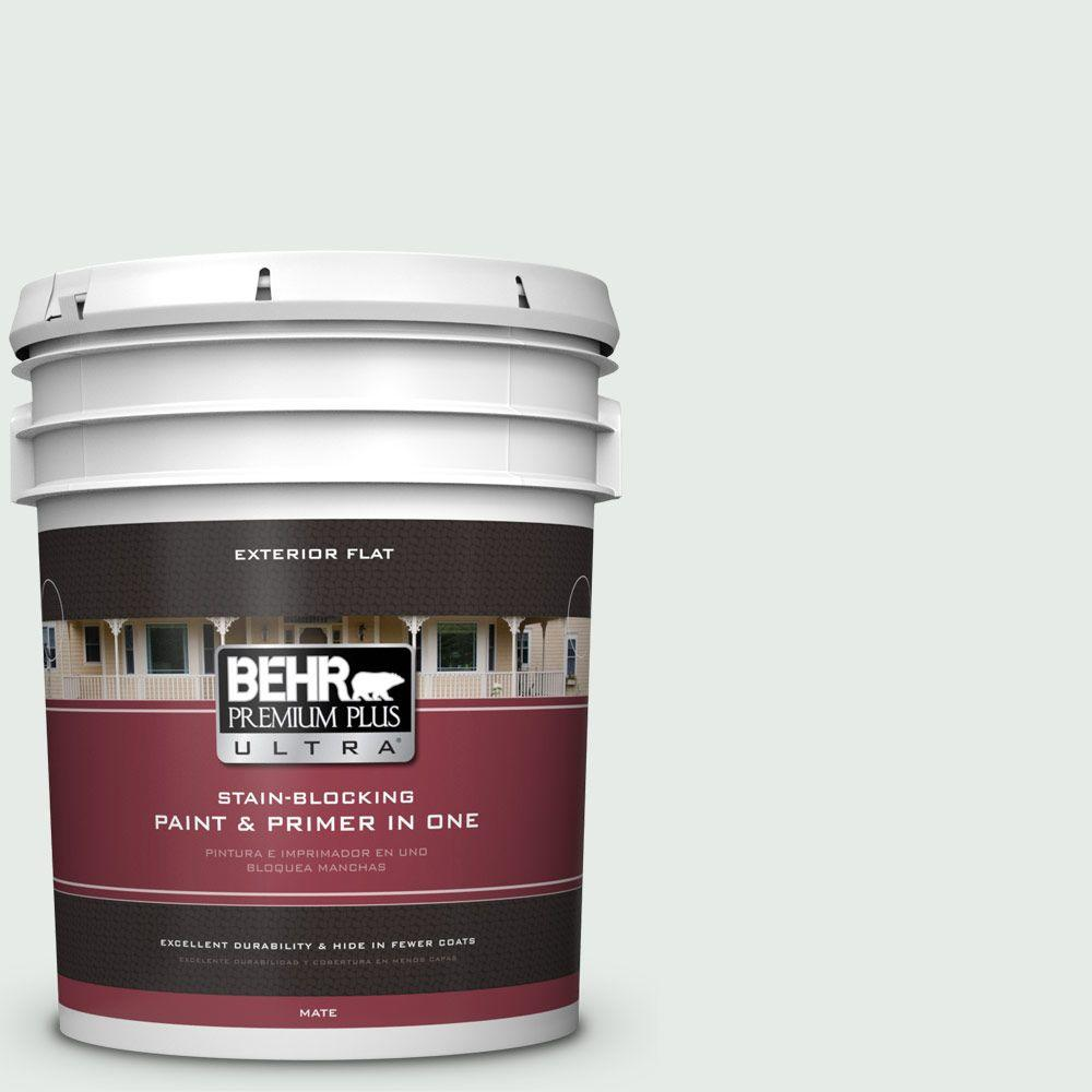 BEHR Premium Plus Ultra 5-gal. #BL-W8 Frothy Surf Flat Exterior Paint