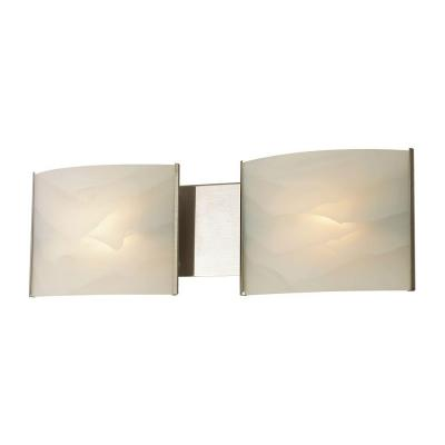 Pannelli 2-Light Stainless Steel Vanity Light with Hand-Moulded White Alabaster Glass