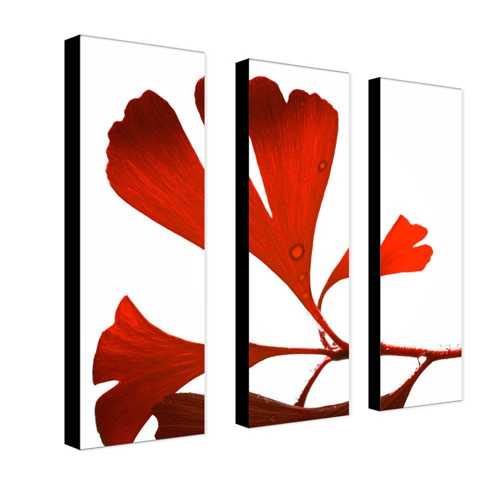 Trademark Fine Art 8 in. x 24 in. Ginko Drops 3-Piece Canvas Art Set