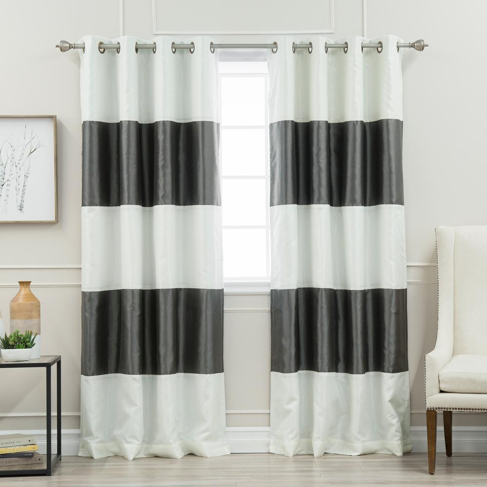L Ivory And Dark Grey Faux Silk Striped Blackout Curtain