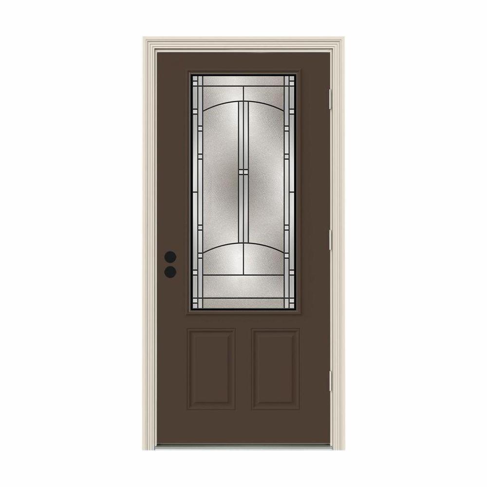 36 in. x 80 in. 3/4 Lite Idlewild Dark Chocolate Painted Steel Prehung Left-Hand Outswing Front Door w/Brickmould