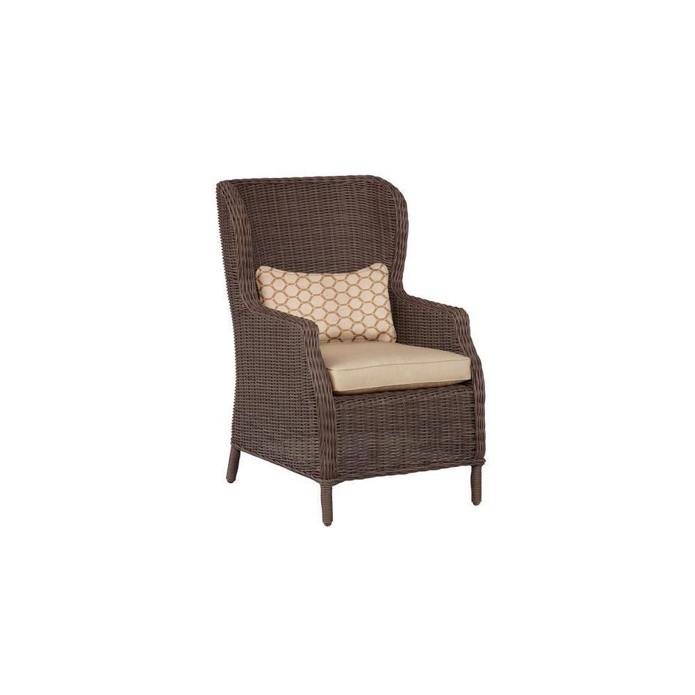 Vineyard Patio Cafe Chair in Harvest with Tessa Barley Lumbar Pillow (2-Pack) -- CUSTOM