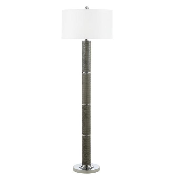 Marcello 60.5 in. Grey Faux Alligator Floor Lamp with Off-White Shade