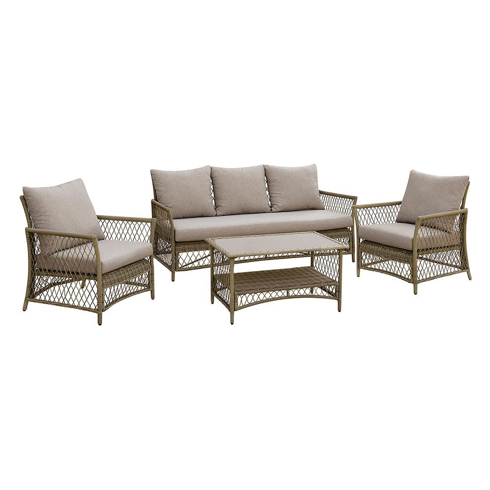 Venetian Worldwide Aluminum Wicker Seating Set Light Gray Cushions