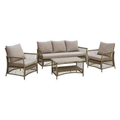 Bailey 4-Piece Aluminum and Wicker Patio Seating Set with Light Gray Cushions
