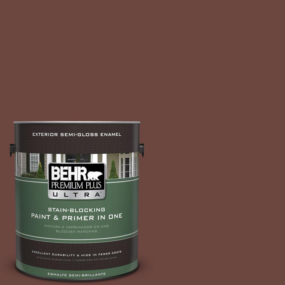 BEHR Premium Plus Ultra 1-gal. #S-G-720 Fireside Semi-Gloss Enamel Exterior Paint