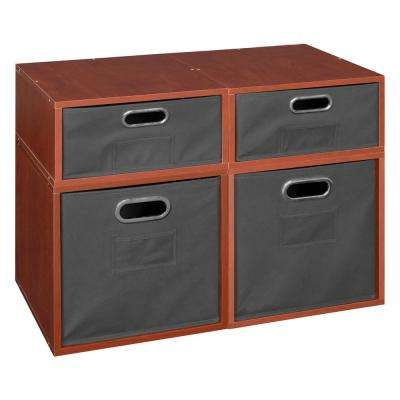 Cubo 26 in. x 19.5 in. Cherry 2 Full-Cube and 2 Half-Cube Organizer with Grey Foldable Storage Bins