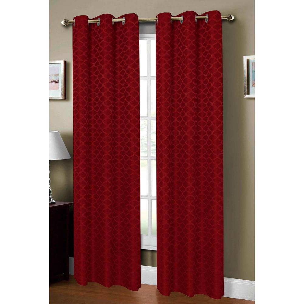 Semi-Opaque Sonata Woven Lattice 54 in. W x 84 in. L Grommet Curtain Panel in Jacquard Burgundy