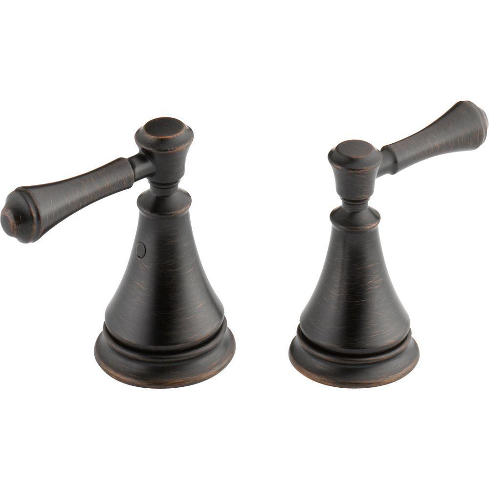 pair of cassidy metal lever handles for bathroom faucet in venetian bronze - Delta Cassidy