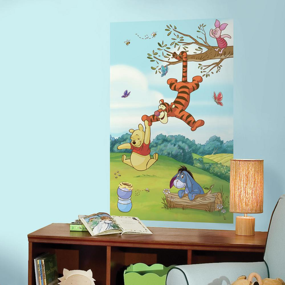 RoomMates 36 in. W x 60 in. H Pooh and Friends 2- Piece P...