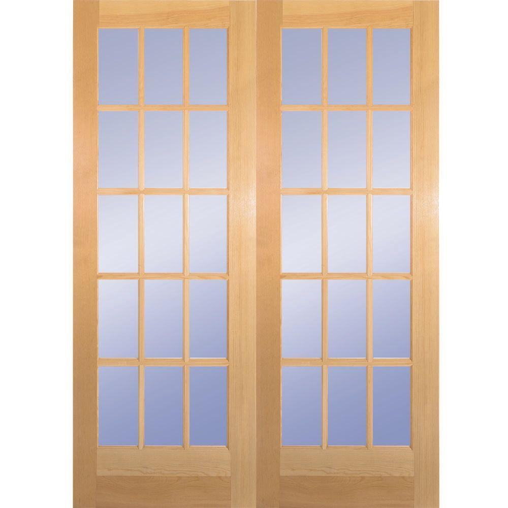 Builder 39 s choice 60 in x 80 in 15 lite clear wood pine for Double pocket door home depot