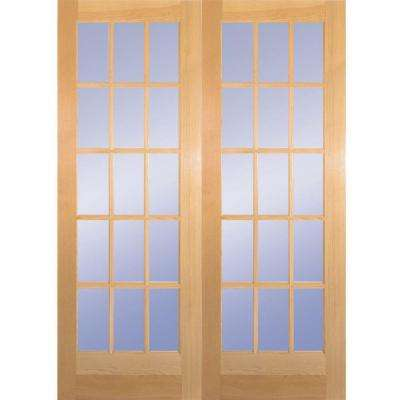 60 in. x 80 in. 15-Lite Clear Wood Pine Prehung Interior French Door