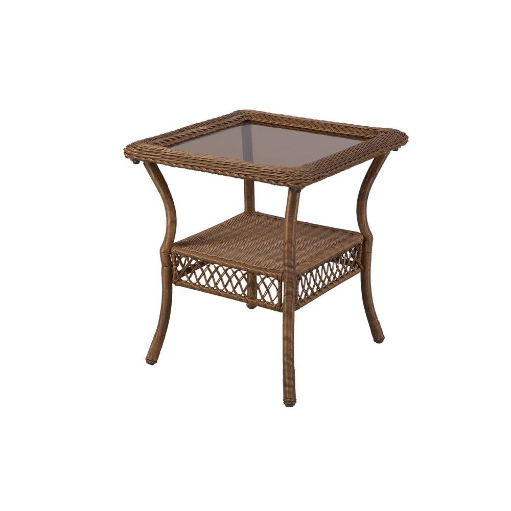 Hampton Bay Spring Haven Brown All-Weather Wicker Patio Side Table