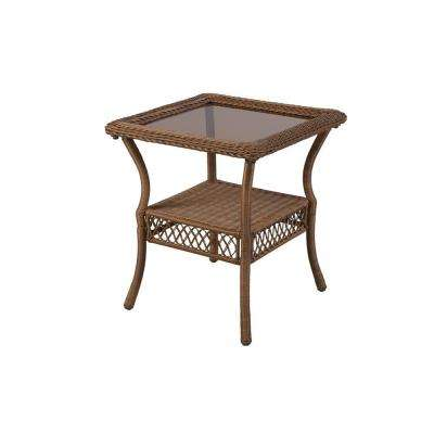 Spring Haven Brown All-Weather Wicker Patio Side Table