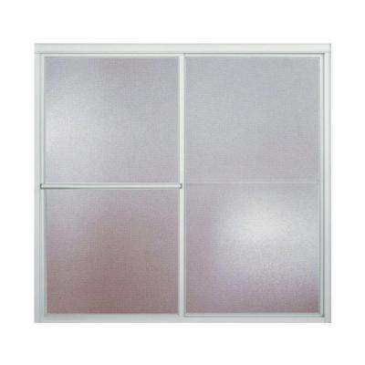 Deluxe 59-3/8 in. x 56-1/4 in. Framed Sliding Bathtub Door in Silver with Handle