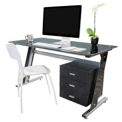 Beta Black Computer Desk with a 3-Drawer Cabinet
