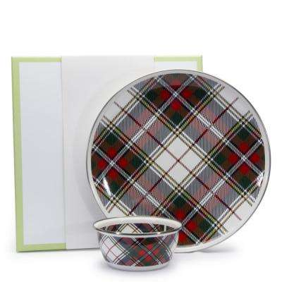 Highland Plaid 12.5 in. 3-Cup 2-Piece Dip Set with Giftbox