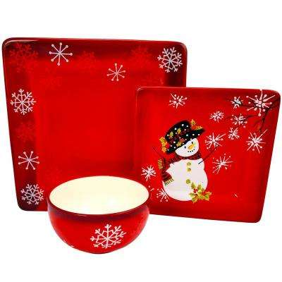 Snappy Snowman 12-Piece Ceramic Dinnerware Set