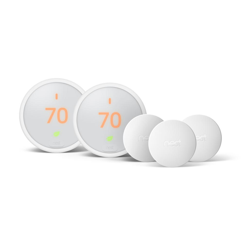 Nest Thermostat E Smart Wi-Fi 24-Day Programmable Thermostat, White (2-Pack) with Temperature Sensor (3-Pack)