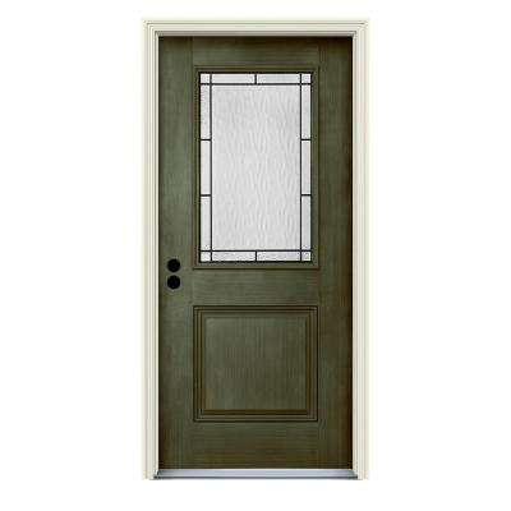 36 in. x 80 in. Right-Hand 1/2-Lite Wendover Juniper Stained Fiberglass Prehung Front Door with Brickmould