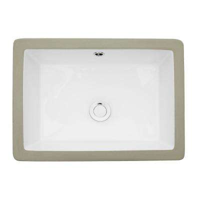 22 in. x 16 in. Rectangle Undermount Sink Porcelain Ceramic Lavatory Vanity Bathroom Sink in Pure White