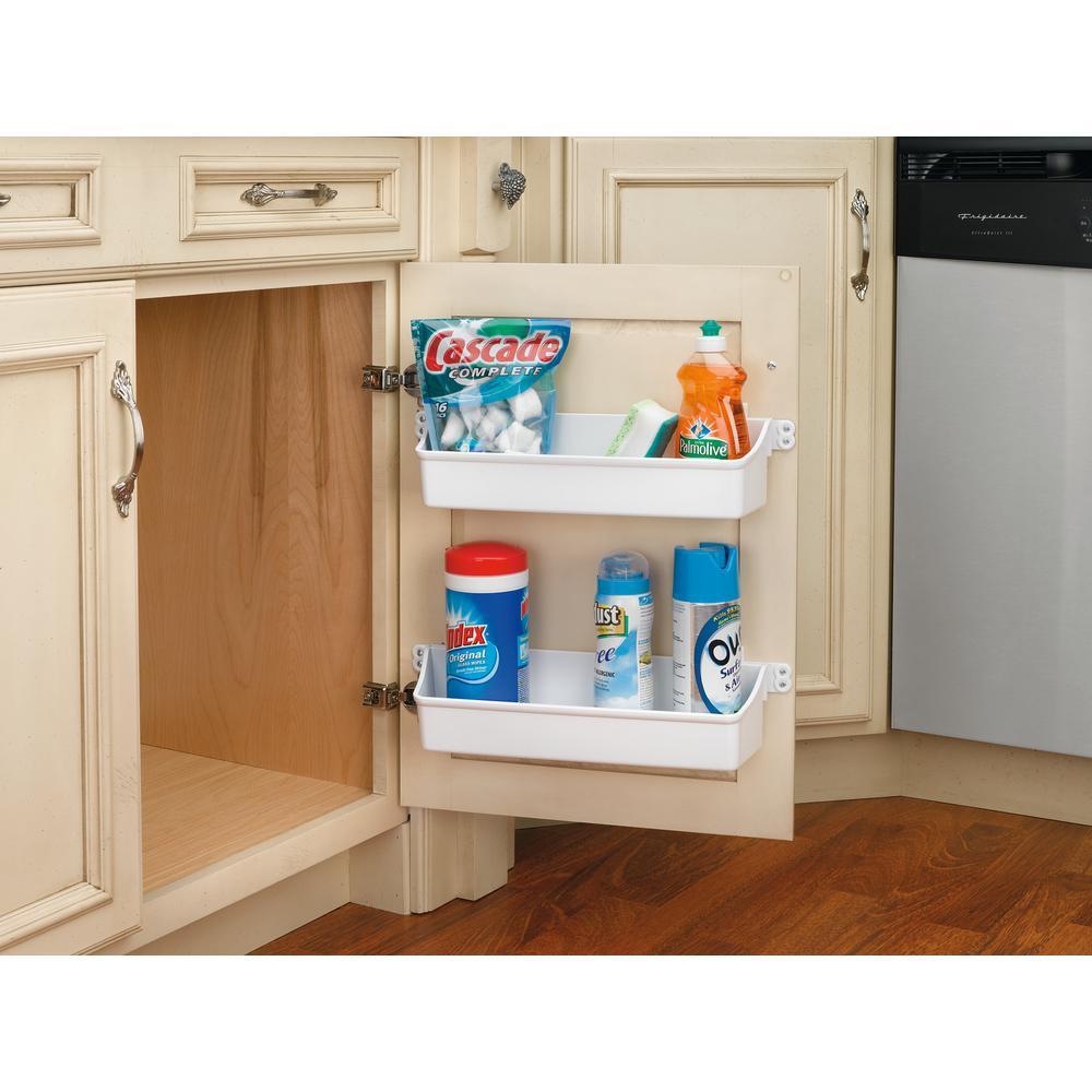 Rev A Shelf 3 56 In H X 19 75 In W X 4 25 In D White Cabinet Door Mount 2 Shelf Storage Bin 6232 20 11 52 The Home Depot