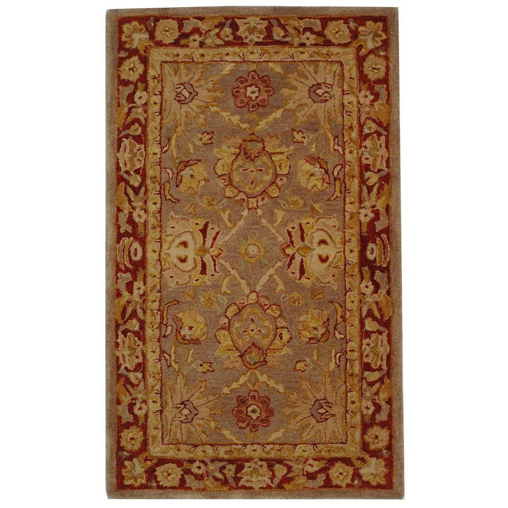 Anatolia Grey/Red 3 ft. x 5 ft. Area Rug