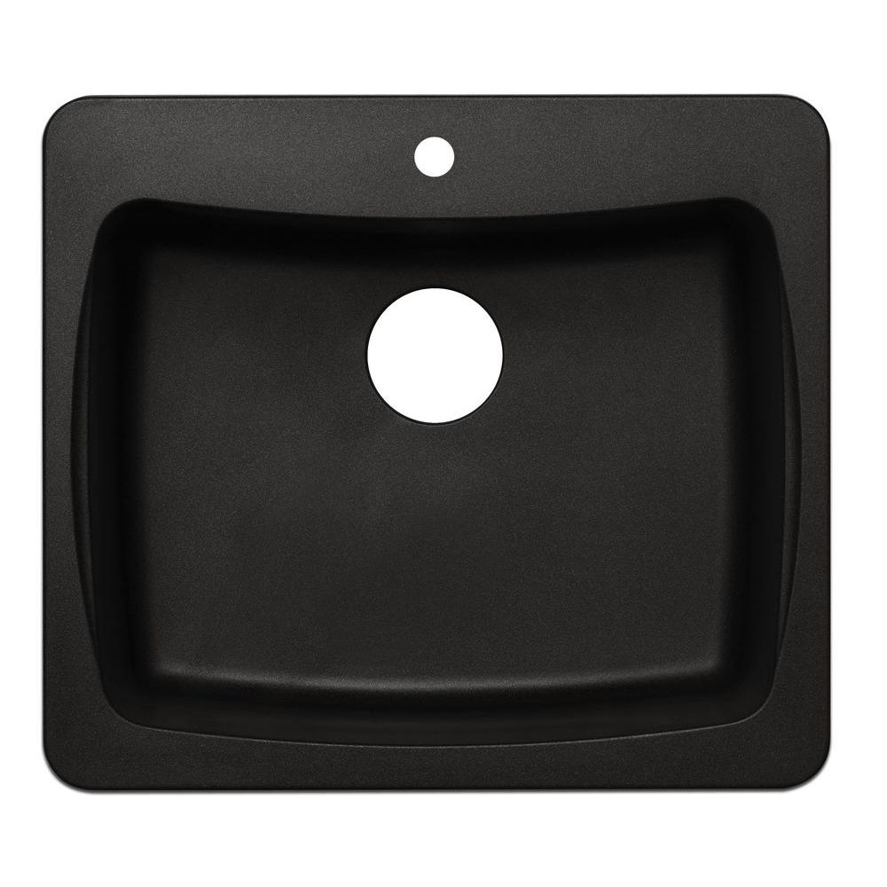 Dual Mount Granite 25 in. 1-Hole Single Basin Kitchen Sink in ...
