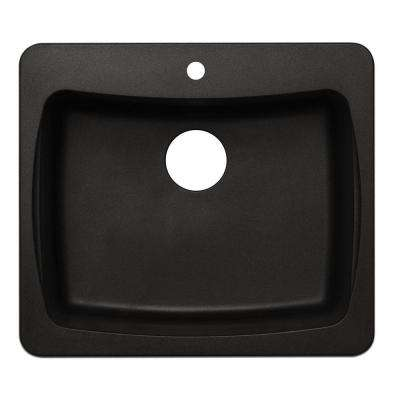 Dual Mount Granite 25 in. 1-Hole Single Bowl Kitchen Sink in Black