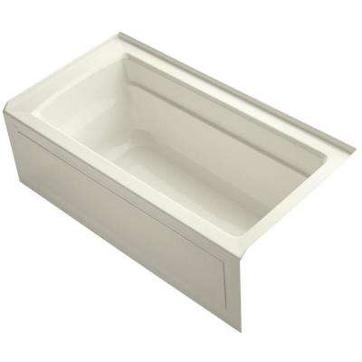 Archer 5 ft. Acrylic Right-Hand Drain Rectangular Alcove Soaking Tub in Biscuit
