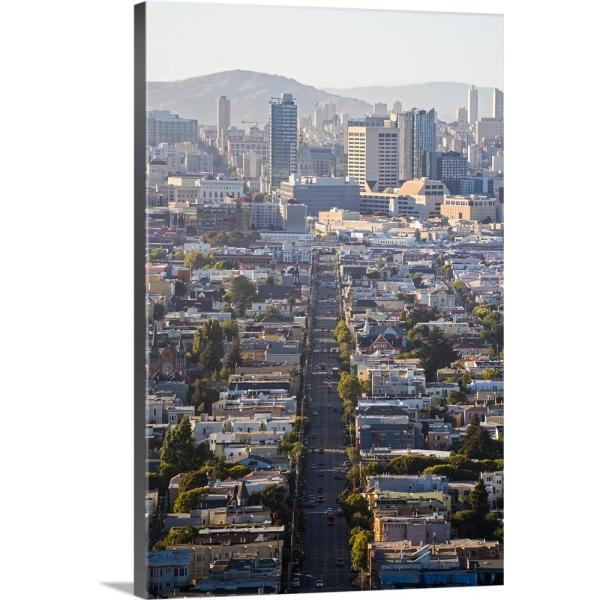 GreatBigCanvas 16 in. x 24 in. ''Aerial Street View of Downtown
