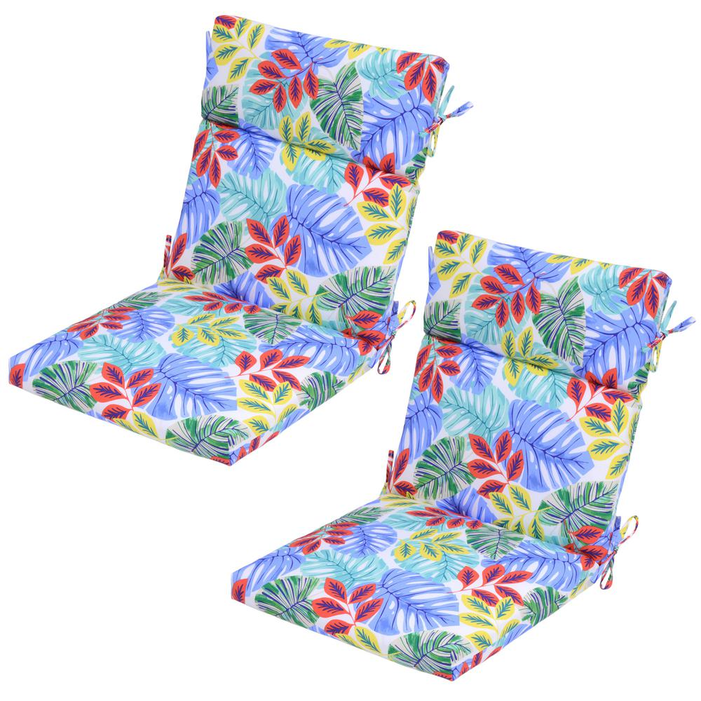 Multi Tropical Outdoor Dining Chair Cushion 2 Pack