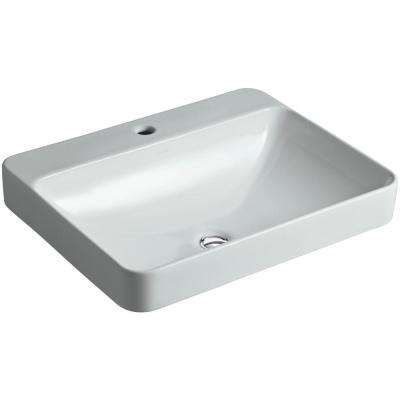 Vox Rectangle Above-Counter Vitreous China Vessel Sink in Ice Grey with Overflow Drain